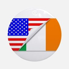 United States and Eire Flags Combin Round Ornament