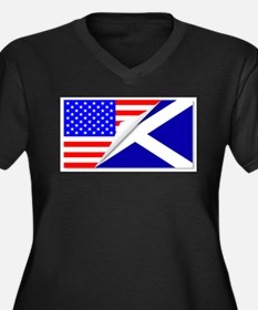 United States and Scotland Flags Plus Size T-Shirt