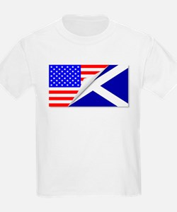 United States and Scotland Flags Combined T-Shirt