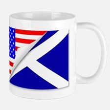 United States and Scotland Flags Combined Mugs