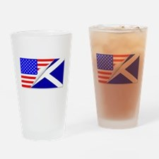 United States and Scotland Flags Co Drinking Glass