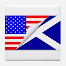 United States and Scotland Flags Comb Tile Coaster