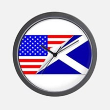 United States and Scotland Flags Combin Wall Clock