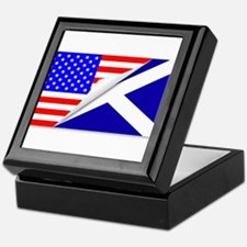 United States and Scotland Flags Comb Keepsake Box