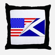 United States and Scotland Flags Comb Throw Pillow