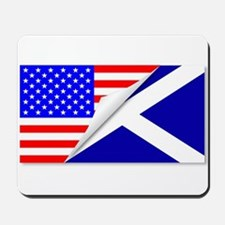 United States and Scotland Flags Combine Mousepad