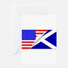 United States and Scotland Flags Co Greeting Cards