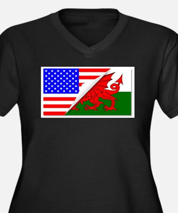 United States and welsh Flags Co Plus Size T-Shirt