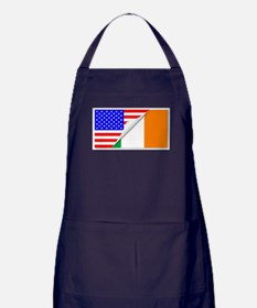 United States and Eire Flags Combined Apron (dark)