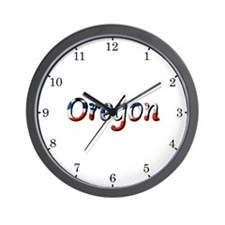 Patriotic Oregon Wall Clock