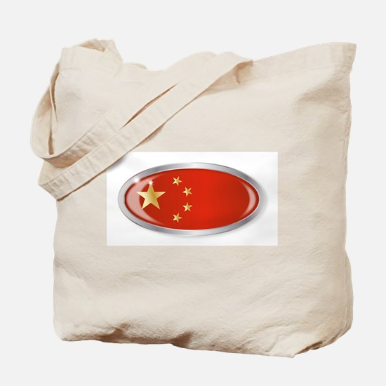 Chinese Flag Oval Button Tote Bag