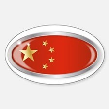 Chinese Flag Oval Button Decal