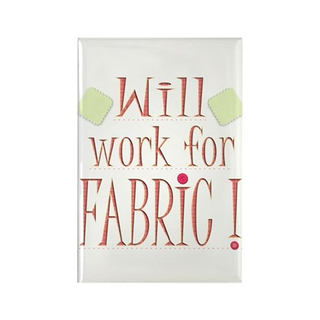 Will Work For Fabric Rectangle Magnet (100 pack)