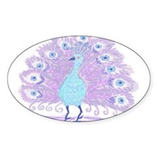 Purple Peacock by Wendy C. Allen Oval Decal