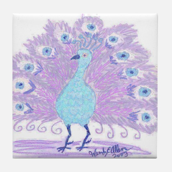 Purple Peacock by Wendy C. Allen Tile Coaster