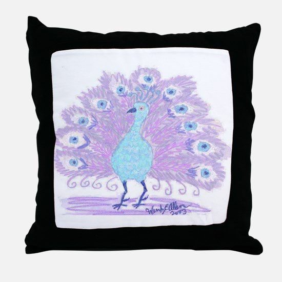 Purple Peacock by Wendy C. Allen Throw Pillow