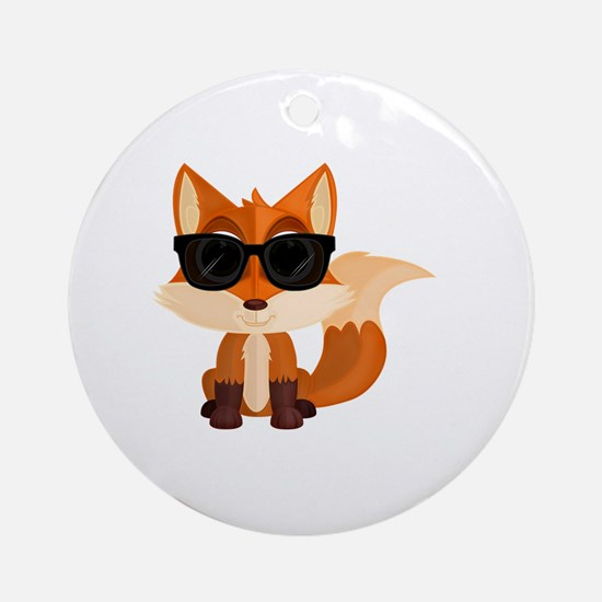 Funny Cute fox Round Ornament