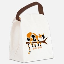 Calico Cat in Tree Canvas Lunch Bag