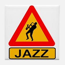 Jazz Caution Sign Tile Coaster