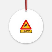 Jazz Caution Sign Round Ornament