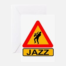 Jazz Caution Sign Greeting Cards