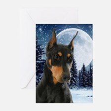 Winter Doberman Greeting Cards