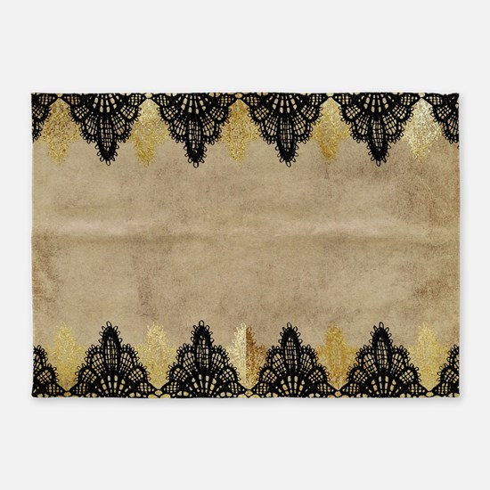 Black and gold Lace on grungy old p 5'x7'Area Rug