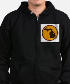 Michigan Map On Timber Zip Hoodie