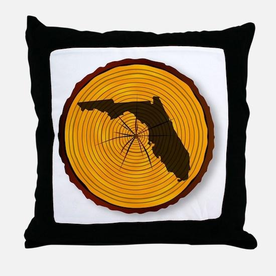 Florida Map On Timber Throw Pillow