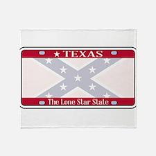 Texas Confederate Flag Plate Throw Blanket