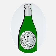 20th Celebration Wine Bottle Oval Ornament