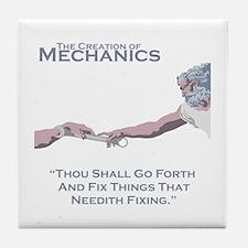The Creation of Mechanics Tile Coaster