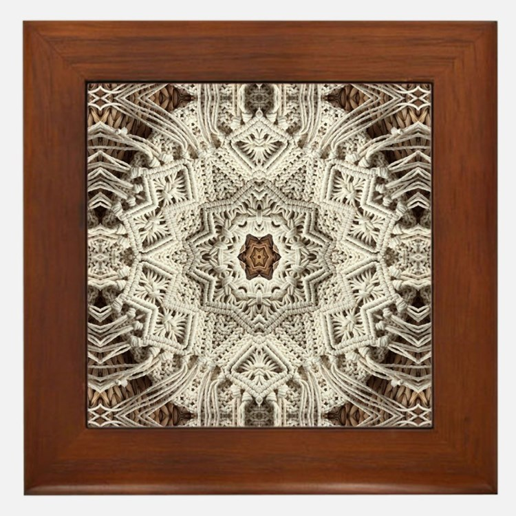 Cute Lace doily Framed Tile