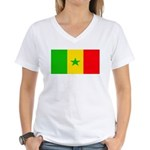 Senegal Blank Flag Women's V-Neck T-Shirt