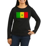 Senegal Blank Flag Women's Long Sleeve Dark T-Shir