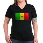 Senegal Blank Flag Women's V-Neck Dark T-Shirt