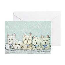 Westie Snow Dog Terriers Greeting Card