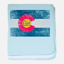 Colorado Girl Flag Aged baby blanket