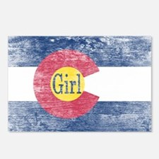 Colorado Girl Flag Aged Postcards (Package of 8)