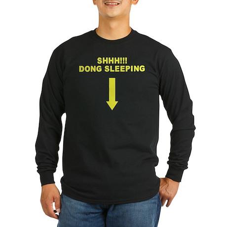 Shhh!!! Dong Sleeping Long Sleeve Dark T-Shirt