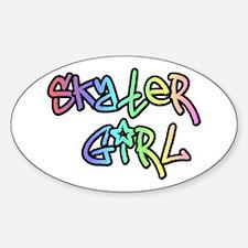 Skater Girl SK8 Oval Decal