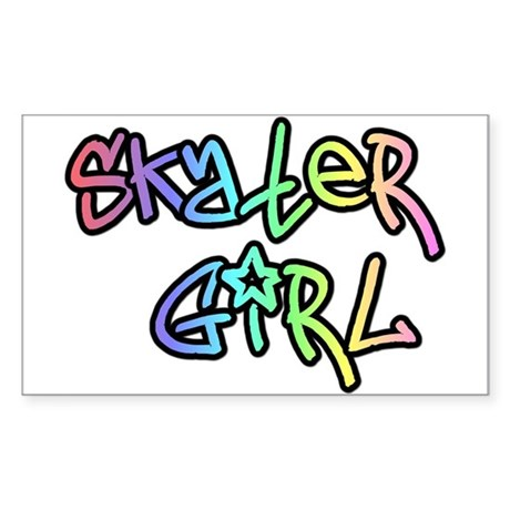 Skater Girl SK8 Rectangle Sticker