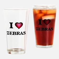 I Love Zebras Drinking Glass