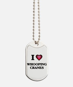 I Love Whooping Cranes Dog Tags