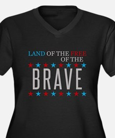 Land of the Free Because of the Brave Plus Size T-
