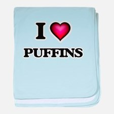 I Love Puffins baby blanket