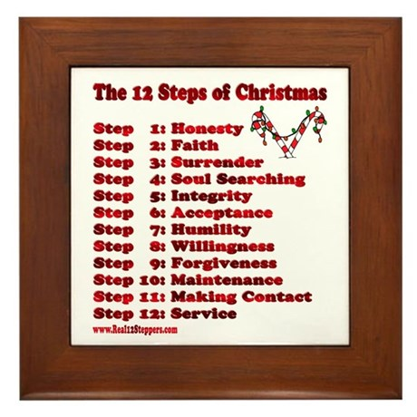 12 Steps Of Christmas Framed Tile