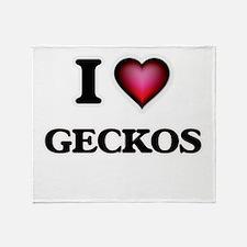 I Love Geckos Throw Blanket