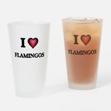 I Love Flamingos Drinking Glass