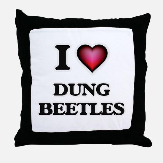 I Love Dung Beetles Throw Pillow